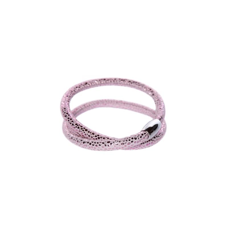 Image of   Prikket pink læderarmbånd