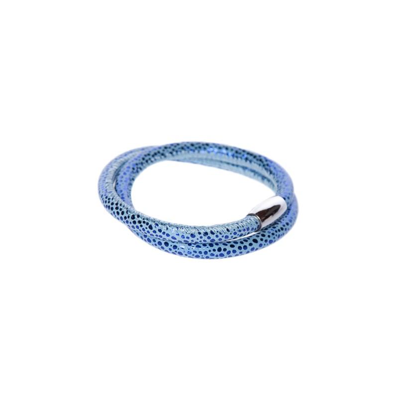 Image of   prikket blå læderarmbånd