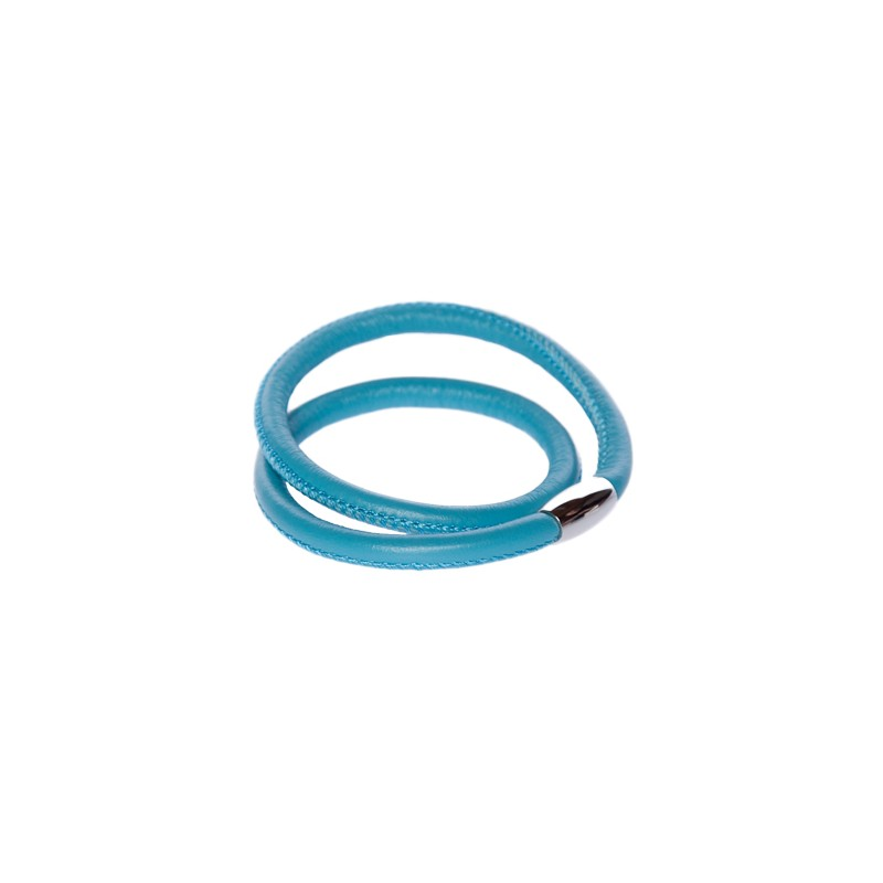 Image of   lyseblå læderarmbånd