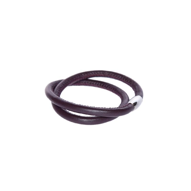 Image of   mørk lilla læderarmbånd