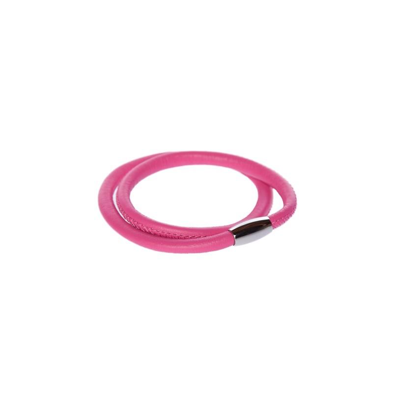 Image of   varm pink læderarmbånd