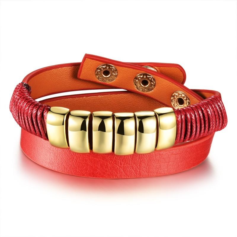 Image of   Rødt læderarmbånd