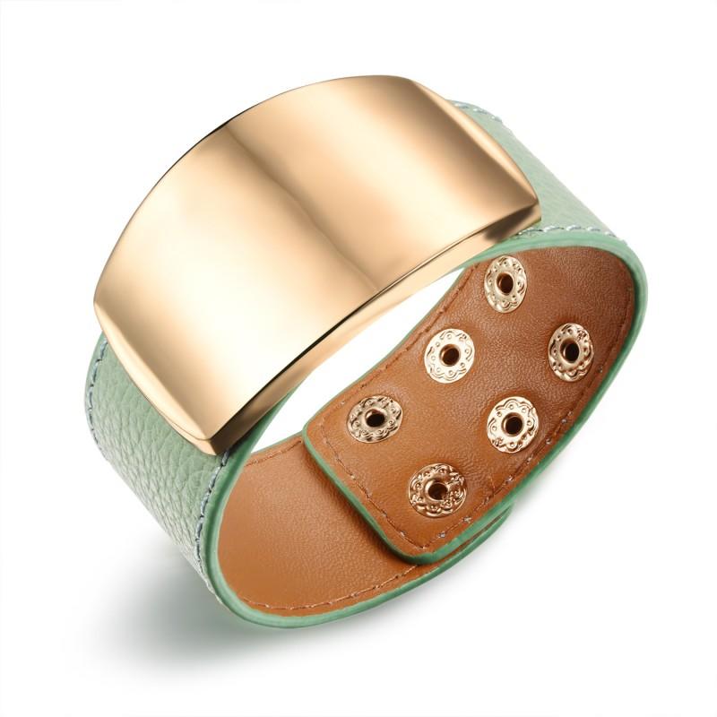 Image of   Mint læderarmbånd justerbar
