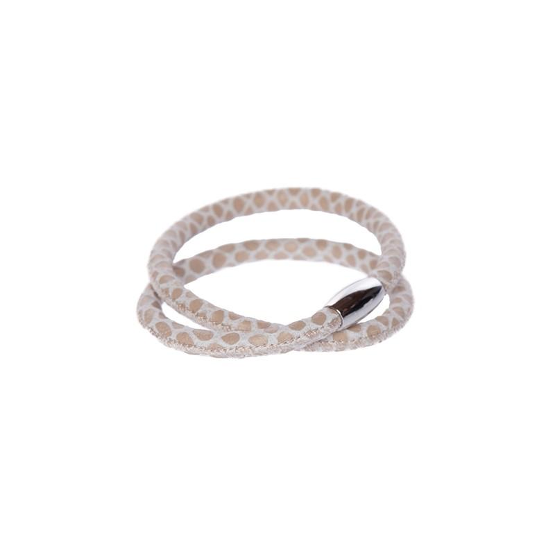 Image of   Snake khaki Læderarmbånd