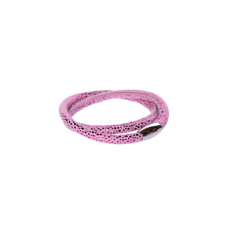 Image of   Prikket varm pink Læderarmbånd