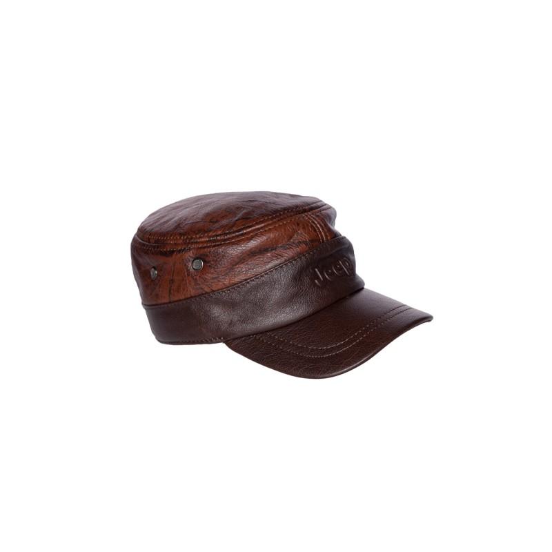 Image of   rødbrun militær Lædercaps med ørevarmer