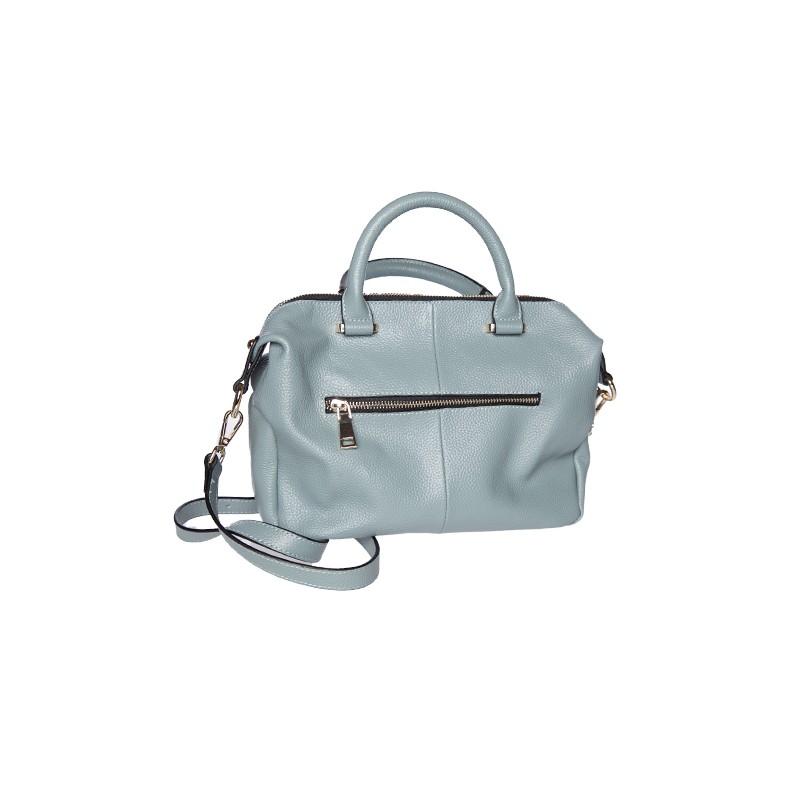 Image of   flot grå dametaske i okselæder med tilhørene skulderrem