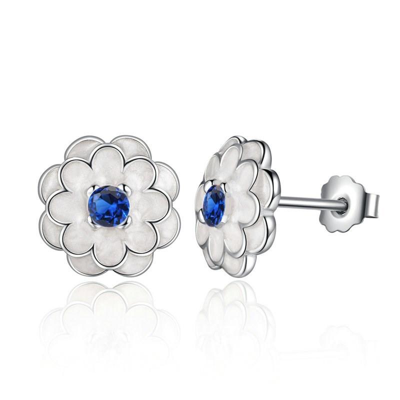 Image of   Blomster ørestikker med blå sten