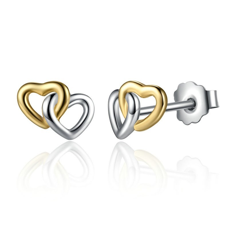 Image of   Hjerte ørestikker med 2 hjerter i guld og sølv